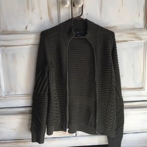 Olive green knit jacket